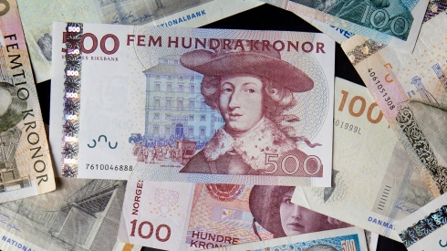 Swedish Norwegian and Danish kronor are seen in this photo illustration taken in Stockholm